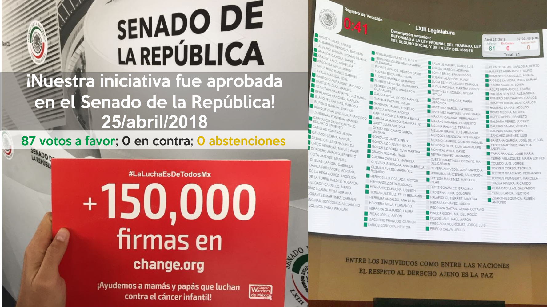 ¡Nuestra iniciativa fue aprobada con 87 votos en el Senado de México!